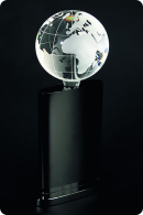 The Globe glass trophy