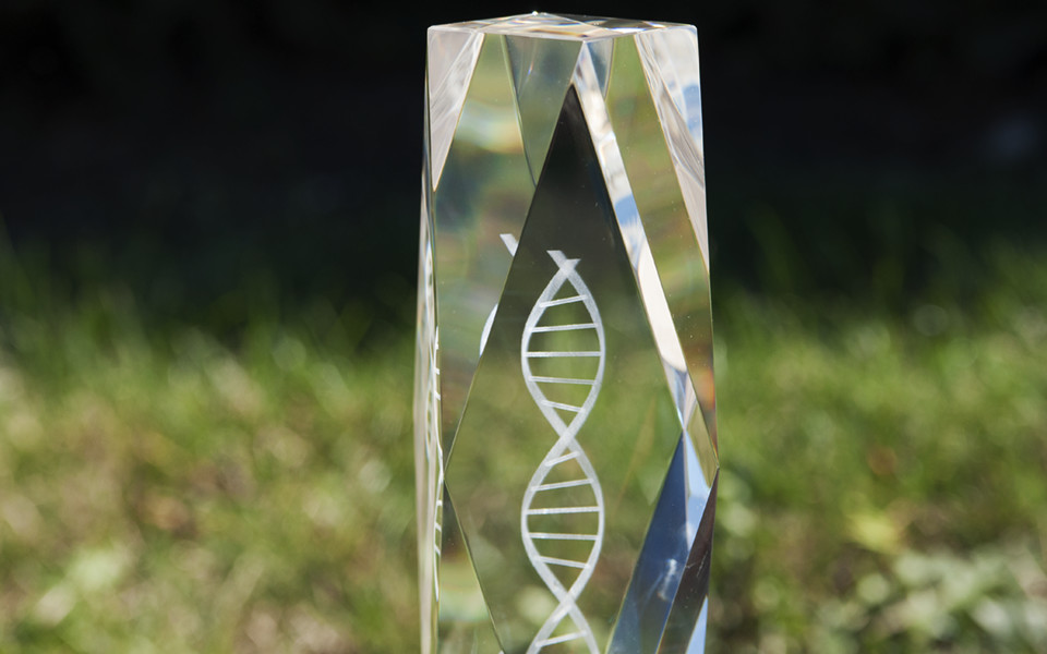 Crystal Trophy with Double Helix